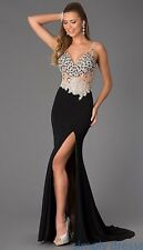 JVN 20246 Jovani Prom High Slit Dress EUC Size 2 Black with Rhinestones STUNNING
