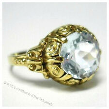 antiker Art Deco Ring 2,25ct Aquamarin 333er 8K Gold 54 / 17,2 original um 1930