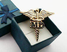 "MD GOLDEN CADUCEUS MEDICAL DOCTOR BADGE LAPEL PIN 1.5""*Genuine Gold Plated+G/bag"