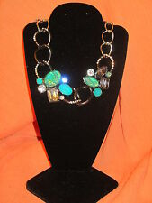 SIMPLY VERA WANG NWT $34 women's necklace green blue silver pewter