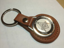 Masonic Masons Leather Key Rings (BLACK/TAN) WITH MATCHING PHONE STICKER