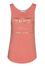 LONDON CHIC SOUVENIR LADIES ONE SIZE (PETITE) TRENDY CORAL PINK VEST, TANK TOP