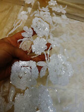 Bridal Wedding Embroidered Nude Net White Sequins Embroidery Lace Fabric BTY