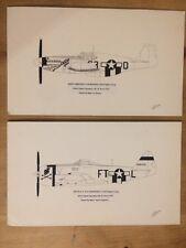 P-51B Mustang P-47D Thunderbolt Marten Bacon Signed Aviation Art Lot Of 2