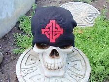 celtic cross red on black embroiderd beanie hat thors hammer asatru norse