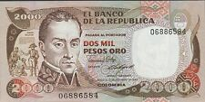 Colombia 2000 Pesos 17.12.1986 P 430d  Uncirculated Banknote