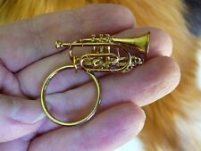 (M-204-D) Boosey & Hawkes CORNET KEY CHAIN JEWELRY 24k gold plate keychain ring