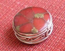 Natural Round Tibetan Style Coral Bead with Carved Sterling Silver