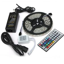 5M Bande RGB IP65 Etanche 5050 SMD 300 LED Ruban 44 Keys IR Remote Alimentation