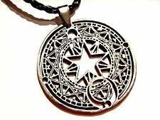 MAGIC TALISMAN PENDANT laser-cut double pentagram sun moon zodiac necklace 1W