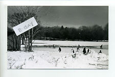 Lincoln MA Mass RPPC real photo PIerce Park, skaters, kids playing hockey
