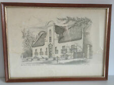 Vintage Sketch /Drawing of Groot Constantia, South Africa by John Hall 32 x 23cm