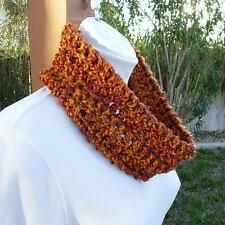 SUMMER COWL SCARF Burnt Orange Rust Brown Small Infinity Loop Handmade Crochet