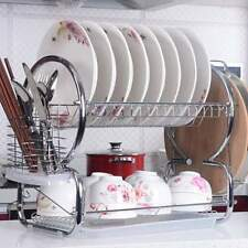 2 Tier Stainless Steel Dish Plate Cup Rack Drainer Drying Rack Space Saver HTBM