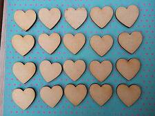 50x Laser Cut Wooden Heart shapes MDF. Embellishments Craft 40mm x 40mm