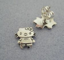 Mexican 925 Silver Taxco Cute HELLO KITTY Girls All Ages Shiny New Post Earrings