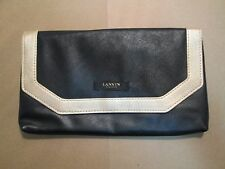 LANVIN PARFUMS FAUX BLACK GOLD LEATHER MAKEUP COSMETIC CLUTCH PURSE BAG ENVELOPE