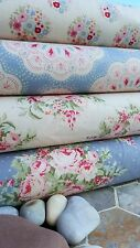 Tilda Sweet heart Fabric 4ps bundle quilting rose flowers BLUE RED DOVE WHITE