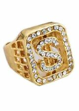 Fake Gold Diamante Dollar Sign Ring Pimp Big Daddy Gangster FancyDress Accessory