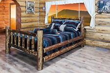 Log Beds QUEEN Size Amish Made Solid Pine Lodge Rustic  Cabin Furniture