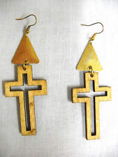 NEW LIGHT NATURAL WOODEN CROSS SILHOUETTE w GOLDTONE ACCENTS DANGLING EARRINGS