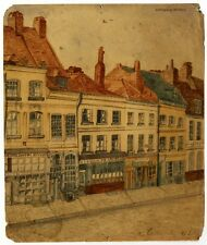 1851 A. Caltaerts, signed watercolor painting, Street of houses sw. in Belgium