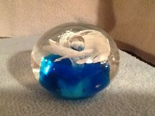 ANTIQUE GLASS PAPERWEIGHT Blue base with White Flower (D)