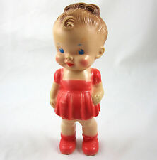 Sun Rubber Chunky Doll Ruth E Newton Vintage 1950's Girl in Red Dress 8 Inch