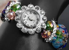 Lampwork Crystal Bracelet Bangle Flower Wrist Watch FASHION