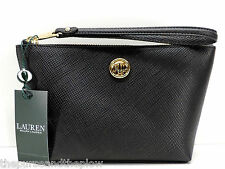 Ralph Lauren Charleston Black Leather Cosmetic Wristlet Makeup Bag Pouch New NWT