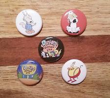 """5 1"""" Rockos Modern Life Spunky Heffer Nickelodeon 90's pinback badges buttons"""