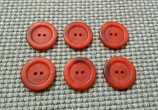 6 x Red Swirl 23mm Vintage Buttons Jumper Cardigan Clothing Crafts 2 Hole 1970s