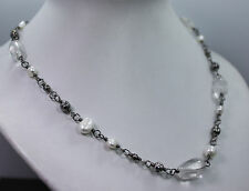 Retired Silpada Pearl and Clear Crystal Sterling Silver Necklace N1602