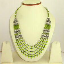 NATURAL FACETED PERIDOT GEMSTONE BEADED NECKLACE 72 GRAMS