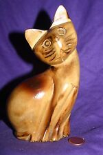 Hand Carved Vintage Wooden Cat Statue  Collectible Figure