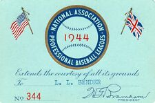 1944 N.A.P.B.L. Minors Pass Ticket Duke Snider Age17/G 131/HR 9 Newport Dodgers