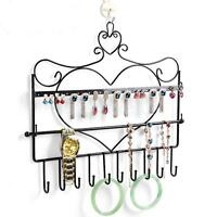 Heart Wall Jewellery Necklace Earring Display Stand Holder Hanger Black