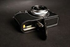 Genuine real Leather Half Camera Case bag Cover for FUJIFILM X100T Open Black