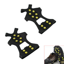 10-Stud Ice Snow Shoe Boot Spikes Grips Crampons Cleats Anti Slip Hiking Size L