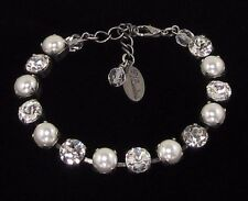 8mm CLASSIC Cup Chain Pearl Crystal Bracelet made w/ Swarovski Crystals