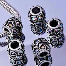 5Pcs White Gold Filled/Silver Rainbow Zirconia Cubic Stone Charms BEADS Bracelet