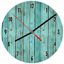 "8"" WALL CLOCK - Wood 1 Teal Turquoise Image of weathered boards printed glossy"