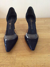 Ladies Navy Snake Embossed Leather Italy Shoes, Size 7,5