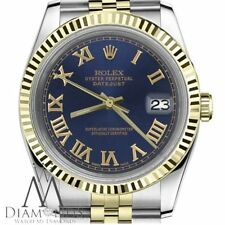 Rolex Classic Fluted 26mm Datejust 18K Gold & SS 2 Tone Navy Blue Roman Numeral