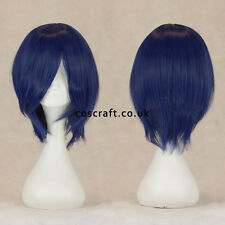 Short medium straight layered cosplay wig midnight dark blue, UK SELLER, Lily