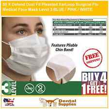 50 X Defend Dual Fit Pleasted EarLoop Surgical Flu Medical Face Mask Level3 PINK