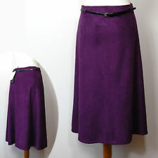 New M&S CLASSIC Faux SUEDE Long, A-Line SKIRT with Belt ~ Size 10 ~ PURPLE