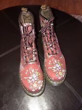 DR MARTENS WOMENS CASTEL Cherry Red Floral Boots Size 9us 41 Eu Mint!! Hipster