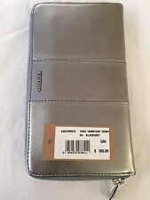 Authentic Diesel Gemstuds Grana Women's Leather Wallet Grey Silver MSRP $160 NWT