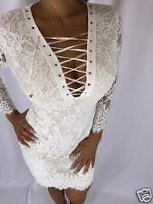 Sexy White Lace Mini Dress With corset chest detail Zipper closure S/M